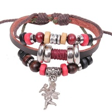 Love God Cupid Fashion Genuine Leather Bracelet Men, Knitted Bracelets Charm Bead Braclets for Women Men Jewelry(China)