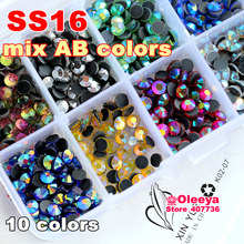 Mix Colors AB with Box ! 10 colors SS16 2000pcs/bag DMC Hot Fix Rhinestones Crystal Glass Material HotFix  Stone Garment  Y3024