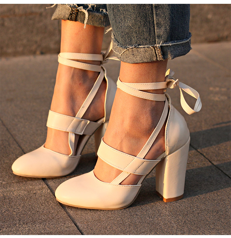 Women Pumps Comfortable Thick Heels Women Shoes Brand High Heels Ankle Strap Women Gladiator Heeled Sandals 8.5CM Wedding Shoes 14