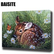 BAISITE DIY Framed Oil Painting By Numbers Animal Pictures Canvas Painting For Living Room Wall Art Home Decor E804(China)