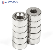 U-JOVAN 10pcs 10 x 5 mm Hole 4mm Super Strong Round Countersunk Magnets Craft Rare Earth Neodymium Permanent Magnet(China)