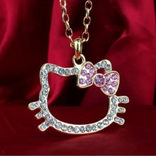 Summer Jewelry New Style18k Gold Silver Plated Crystal Hello Kitty Jewelry Wholesale Necklace Pendant For women Summer Jewelry