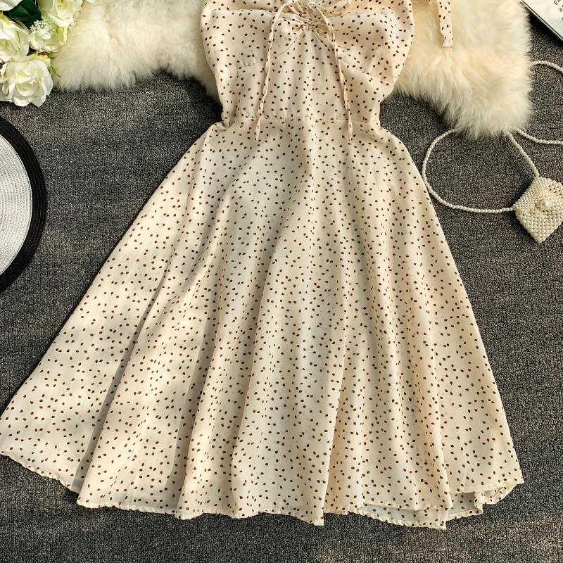 Holiday 2019 New Flower Print V-collar Drawstring High Waist Slim A-line Beach Dress Women Vestidos 18 Online shopping Bangladesh