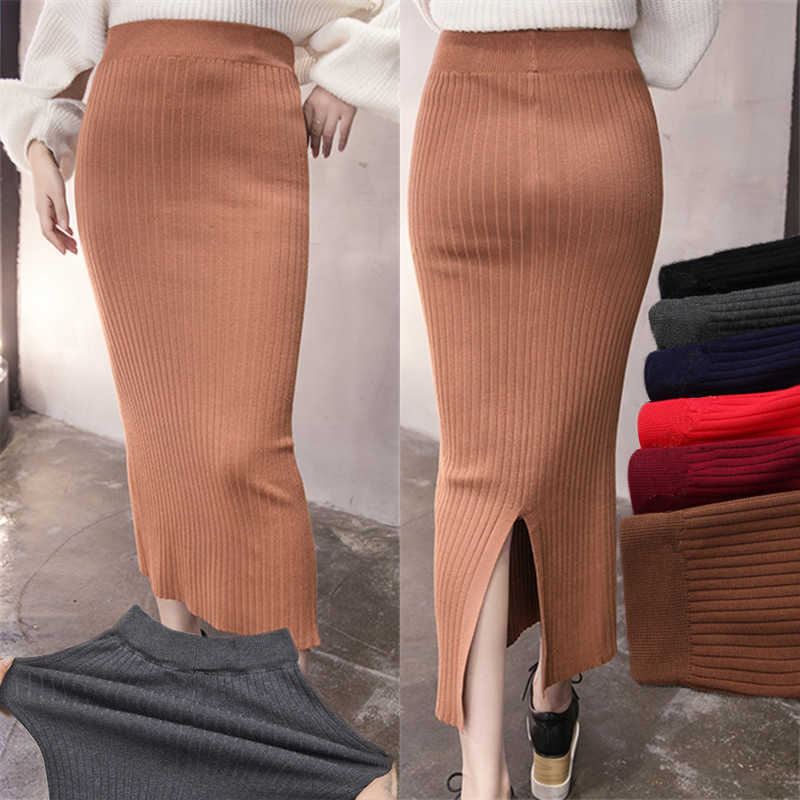 527132107eb High Waist knitted Skirts Womens Long Bodycon Knit Pencil Skirt Female Back  Slit wrap Bandage Ladies