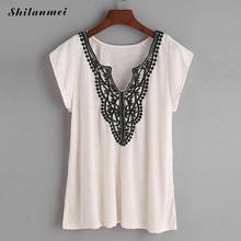 Shilanmei Summer Lace crochet T Shirt Women elegant Floral Embroidered V Neck tee shirt Tops Tees plain slim female T-shirts