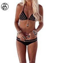 FS New Swimming Suit For Women Sexy Halter Neck Black Maillot De Bain Two Pieces Swimwear V Font Hand Knitting Design Bikini Set