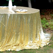 128 x 115 cm Tablecloth Sparkly Gold Champagne Sequin Glamorous Cloth Fabric For Event Table for DIY Craft Materials(China)