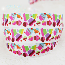 "7/8"" (22mm) printed grosgrain candy cake ribbon colored decoration ribbons"