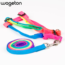 Hot Selling Rainbow Dog Leashes Pet Leads Multicolor Traction Rope Adjustable Cat Walking Harness Rope Chest Strap