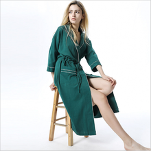2017 Autumn Brand Pajamas Women Cotton Robes Ladies Long turn-down collar Robe Female Casual Fashion Green Bathrobe with belt(China)