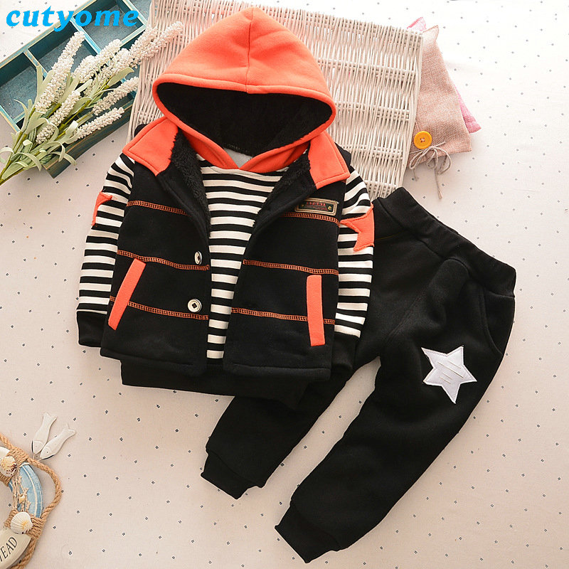 Children Boys Clothing Set Hoddy+Vest+Pants Baby Winter Down Coat Toddler Boys Clothing Kids Thick Clothes Boys Set Outfits<br>