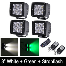 "4x White / Green Strobeflash LED Work Light Bar 3X3"" Cube Pods Offroad Spot / Flood Beam for Offroad 4x4 JEEP SUV Truck ATV UTV(China)"