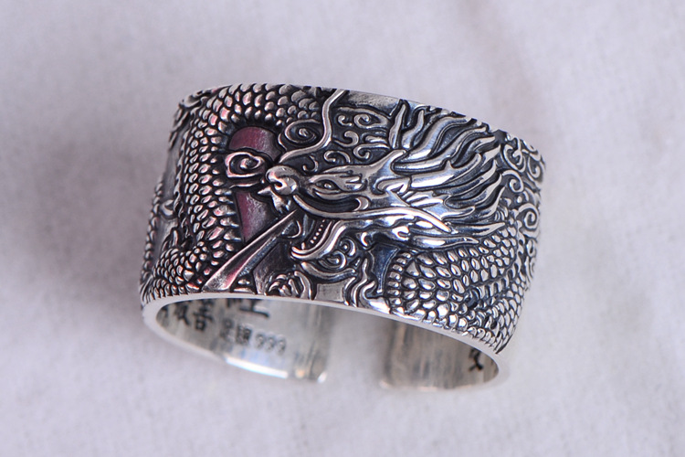 Awesome Real 999 Pure Silver Biker Rings With Flying Dragon
