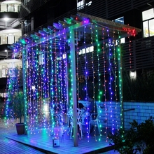 High quality 6* 3M 600LEDS Christmas LED Fairy String Lights Decoration Party Wedding icicle Curtain Lights 4 colours EU US Plug