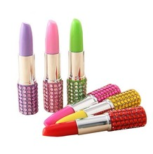 6 x New Style Ball Point Pen Rhinestone Crystal Lipstick Ball Pen Stationery Office Mixed Colors SS19(China)