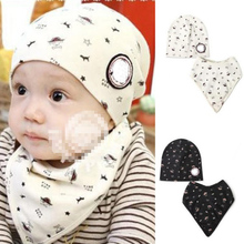 Baby Bibs + Hat Boys Girls Saliva Towel Toddler Bandana Triangle Head Scarf Cute Wholesale Free Shipping X5 H2