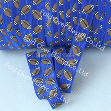 American Football Printed Ribbon Elastic, Free Shipping Super Quality 1.5cm Fold Over Elastic FOE, 100Yards/R Rugby Printed FOE