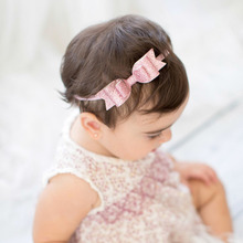 27 Pcs/lot Solid Thin Headband With Three Layers Glitter Bows For Girls Kids Handmade Boutique Elastic Hair Accessories