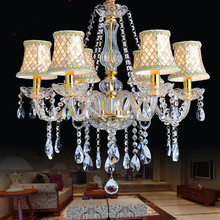 Luxury Gold Crystal Chandelier Home lighting For bedroom Kitchen Chandelier 6 Arm Lustres De Cristal chandeliers for dining room(China)
