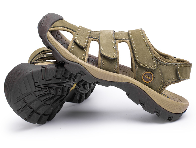 Summer Man Sandals Beach Shoes 2018 High Quality Genuine Leather Prevent Slippery Wear-resisting Outdoor Sandals Large Size 46 14 Online shopping Bangladesh