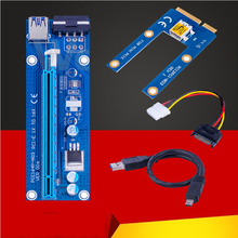 New Mini PCI Express PIC-E Riser Card 1x to 16x USB 3.0 Data Cable SATA to 4Pin IDE Power Supply for BTC Miner Machine Mining