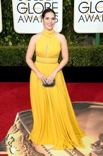 Golden Globe Award 2016 America Ferrera Yellow Chiffon Floor Length Red Carpet Celebrity Dresses Evening Gowns Prom Dresses