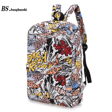 Bs.banghuashi Fashion School Bag Backpack For Women Girls Street Graffiti Mochila Escolar Female Rucksack