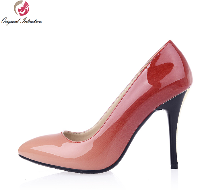 Original Intention Women Pumps Sexy Pointed Toe Thin Heel Shoes Woman Gradient Colors Patent Leather Plus Size <br>
