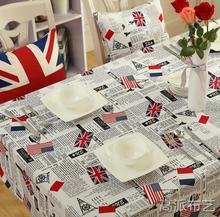 Free shipping Table linen canvas cloth tea table cloth wave placemat Britain flag of the United States flag design square window(China)