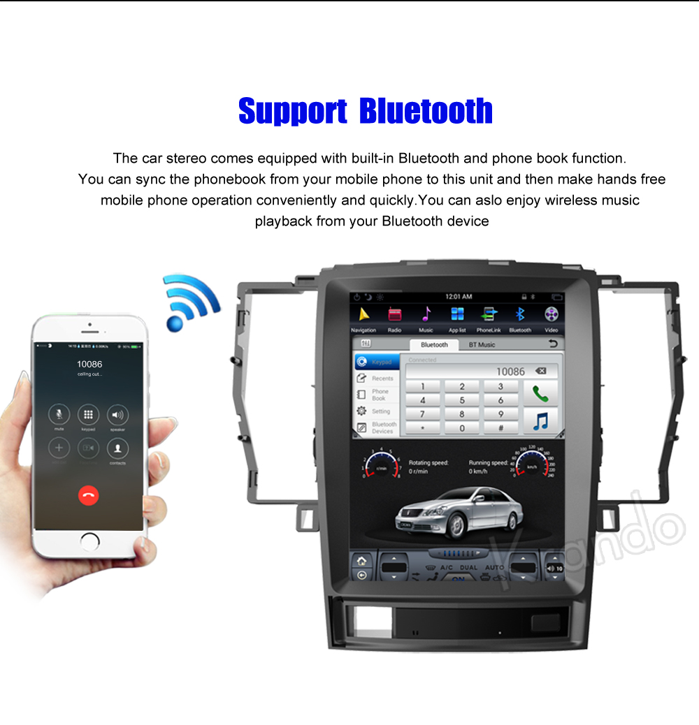 Krando Vertical screen android car radio multimedia for Toyota crown 2008-2012 Big screen navigation with gps system (4)