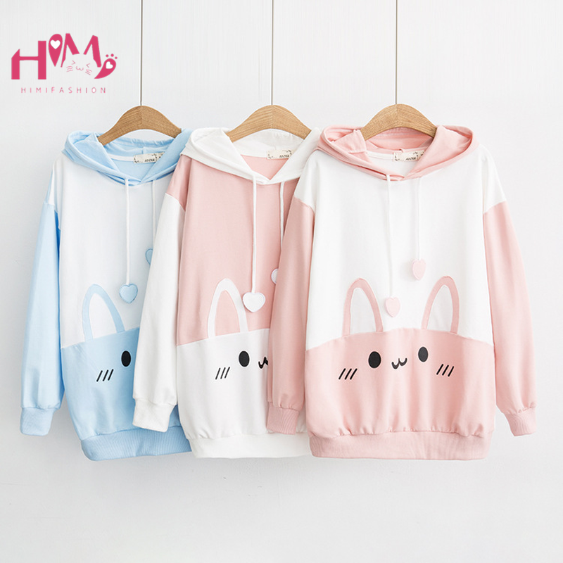 Cute Rabbit Women White Hoodie Kawaii Bunny Ears Graphic Casual Sweatshirts Japanease Harajuku Girls Lovely Pink Blue Pullover