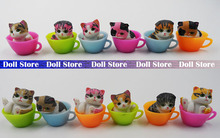 12pcs/lot 3cm mini kawaii cute pvc colorful Japan Teacup cat action figure set best kids toys for girls(China)