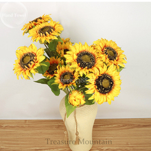 A Bunch of Triple-headed Sunflower Bouquet Artifical Flowers for wedding decoration home(China)