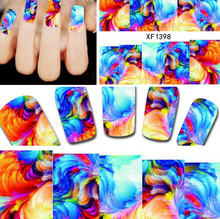 1sheets New Designs 3d Nail Art Stickers Fancy Lovely Rainbow Decals Decorations Stamping DIY Tips Manicure Beauty Tools XF1398