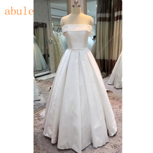 Buy White Satin vintage wedding dress Elegant Shoulder lace line bridal gowns Arabic vestido de noiva 2018 real photo for $89.00 in AliExpress store