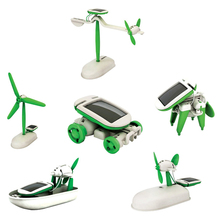 6-in-1 Educational Solar Kit Toy Boat Fan Car Robot Power Moving Dog Children Gifts