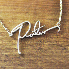 name necklace custom signature necklace personalized handwriting name necklace handmade jewelry(China)
