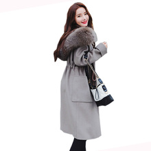Buy 2018 Autumn Winter Fashion Women New Medium long high-end temperament Loose large yards cashmere Coat woolen coat LU433 for $72.86 in AliExpress store