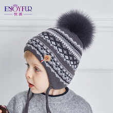 ENJOYFUR Cotton Caps Children Geometric Patchwork Knitted Winter Hats Real Fox Fur Pompom Boy Ears Hat Kids Thick Warm Beanies