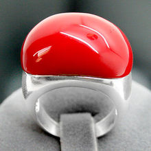 Elegant 15X21mm Red Coral 925 Sterling Silver Marcasite Ring Size 7-10(China)