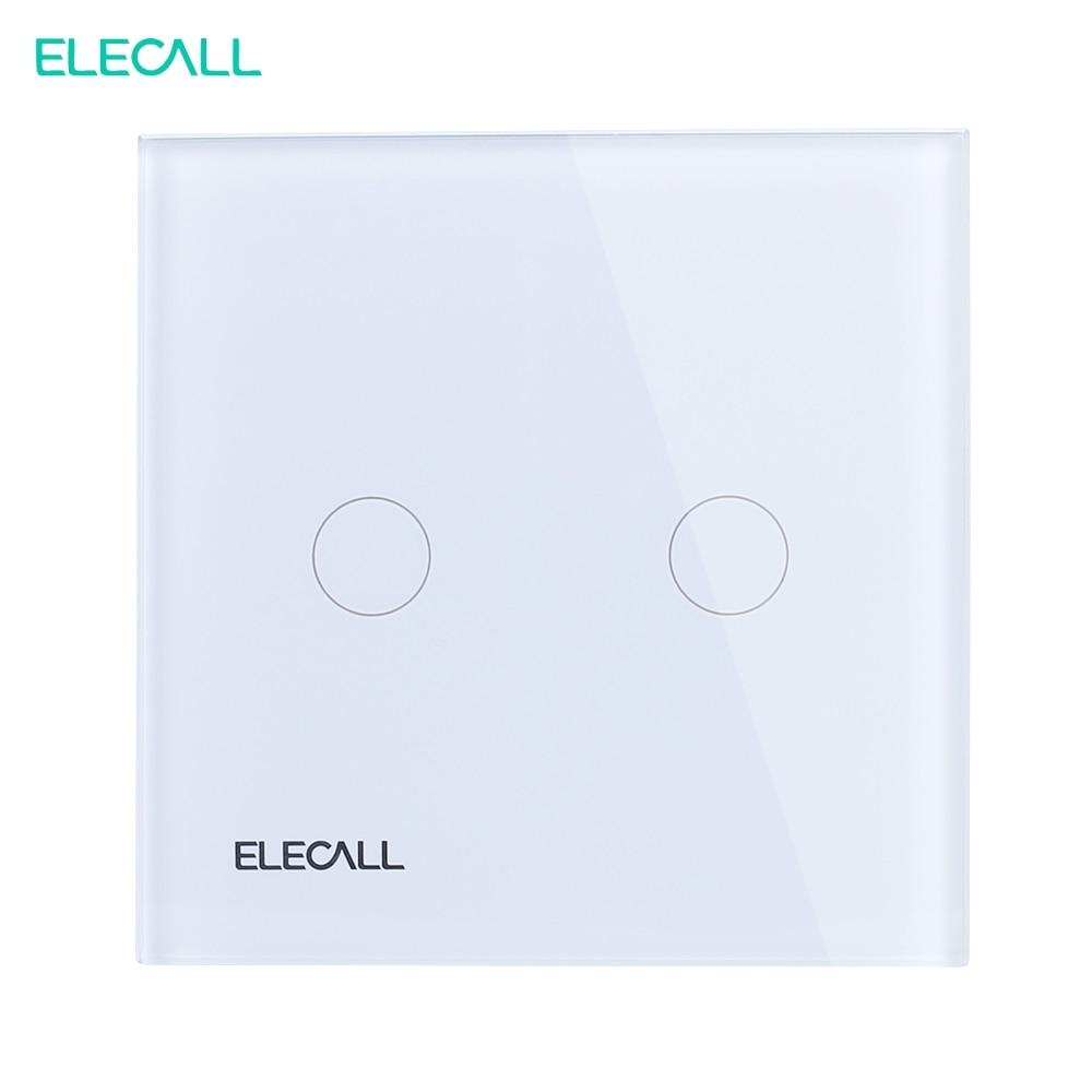 ELECALL EU standard Touch Switch  Wall Light Touch Screen Crystal glass panel 2 gang 2 way SK-A802-02EU<br>