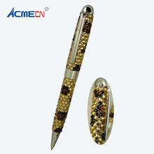 New Creative Leopard Pattern Pen with Crystal for Jewellory Accessories Cute Rhinestone Pen for Student Gift Diamond MB Ball Pen(China)