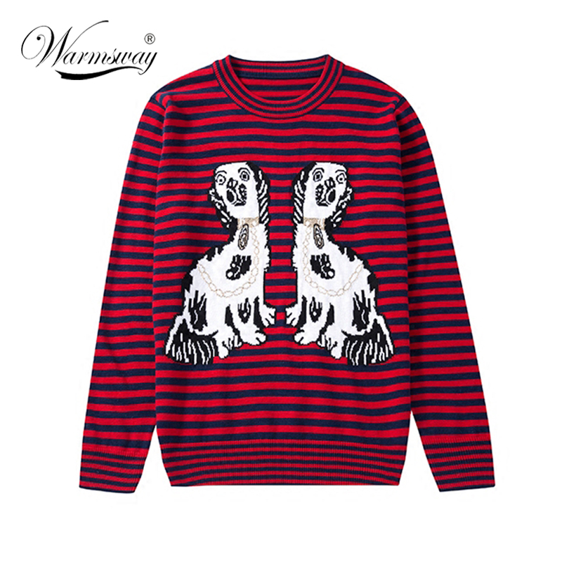 WARMSWAY Autumn Winter Dog Lovers Knitted Pullover Sweater For Woman Casual Striped Embroidery Women Tops Sueter C-087
