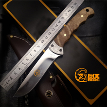 High-quality BIGONG shadow wooden small hunting knife cold Steel structure outdoor Browning Camping knife