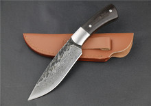 58HRC Straight forged  Handmade Damascus Steel pattern hunting knife fixed knife  ebony handle with leather sheath