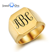 Personalized Stainless Steel Fashion Engrave Ring For Men Custom Accessories Male Party Jewelry Gift For BF(JewelOra RI102442)(China)