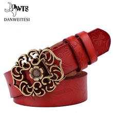 [DWTS]Vintage Leather Belt Women Genuine Cow skin Fashion Floral Curved Buckle Belts For Women Top Quality Accessory direct deal(China)