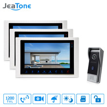 JeaTone 10'' Wired Video Door Phone Monitor System 3&1Better Evening Viewing Outdoor Camera Home Intercom Apartment(China)