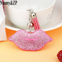 Naomy&ZP Brand Crystal Lips Key Chain Women Car Keychain Key rings Key Holder Bag Pendant Finder Wallet Purse For Gift Jewelry(China)