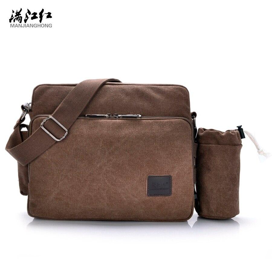 2016 Vintage Travel Bag Messenger Bag Mens Canvas School Military Shoulder Bag Retro Style For Man Canvas with Bottle Pocket<br>